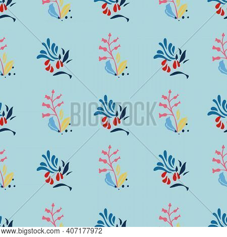 Geometric Modern Floral Plant Pattern. Seamless Vector Repeat Background. Simple Striped Design With