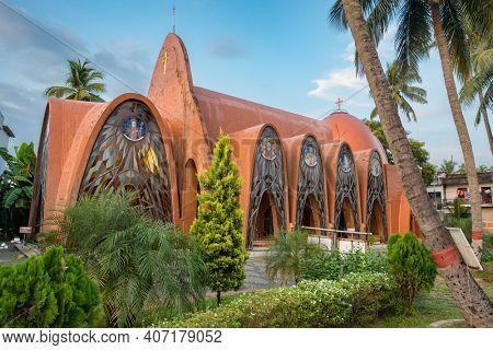 Cochin, India - November 25, 2019: St George Orthodox Koonan Kurishu Old Syrian Church in Fort Kochi, Kerala state, India