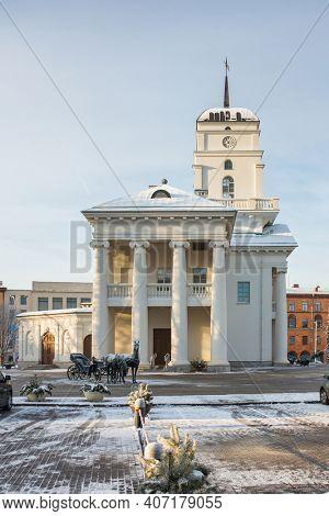 Minsk, Belarus - January 24, 2018: Town hall in Minsk city center in winter in Belarus