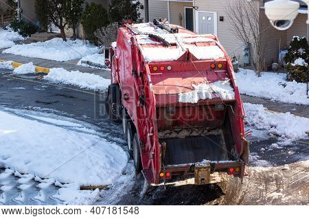 Process Of Garbage Loading To The Garbage Truck Work