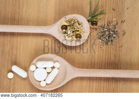 Homeopathic Medication With Tablets . Alternative Medicine With Herbal And Homeopathic Pills