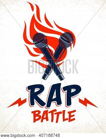 Rap Battle Vector Logo Or Emblem With Two Microphones Crossed And Fire, Hip Hop Hot Rhymes Music Mic