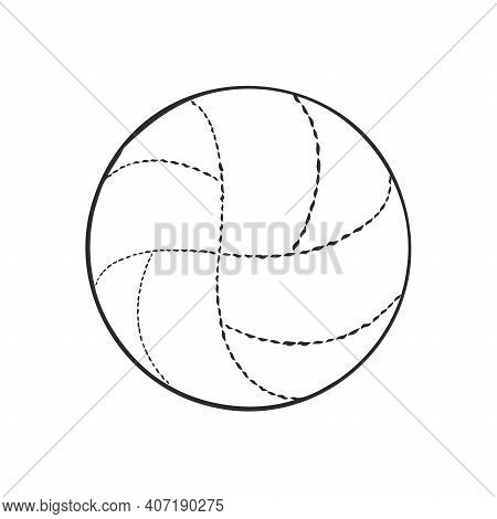 Doodle Style Volleyball Sports Vector Illustration. Volleyball Ball Vector Sketch Illustration