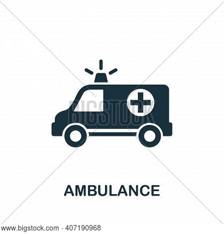 Ambulance Icon. Simple Element From Medical Services Collection. Filled Monochrome Ambulance Icon Fo