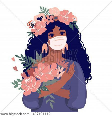 A Cute Girl In A Mask Holds A Bouquet Of Flowers. Vector Stock Illustration. Design For The Holiday