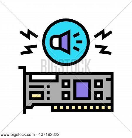 Audio Card Computer Component Color Icon Vector. Audio Card Computer Component Sign. Isolated Symbol