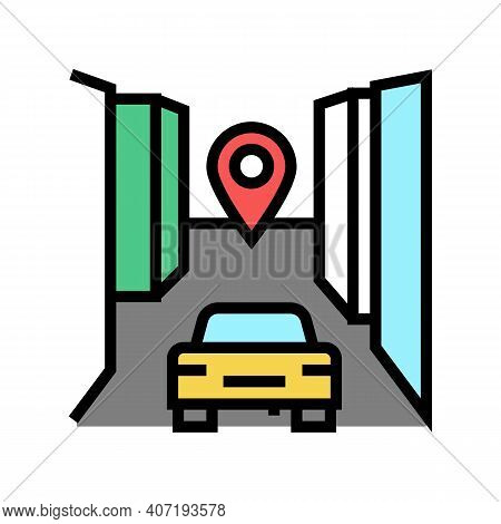 Car Final Destination Color Icon Vector. Car Final Destination Sign. Isolated Symbol Illustration
