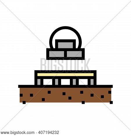 Columnar Foundation Color Icon Vector. Columnar Foundation Sign. Isolated Symbol Illustration