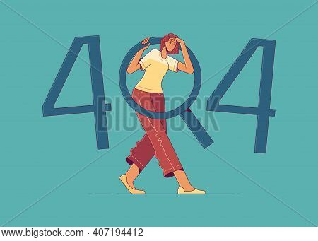 Young Woman Is Looking For Something In 404 Error Sign. Http 404, Page Not Found, File Not Found, Or