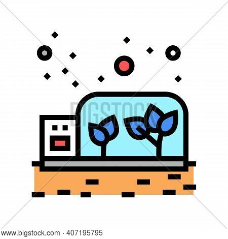 Greenhouse With Growing Plants On Mars Color Icon Vector. Greenhouse With Growing Plants On Mars Sig