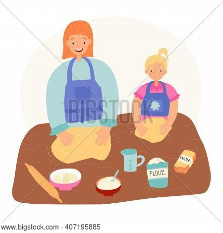 Family Pastime, Easter Pastry Baking Banner. Mother Teaches Her Little Daughter To Bake And Shows Ho