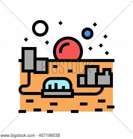 City On Mars Color Icon Vector. City On Mars Sign. Isolated Symbol Illustration