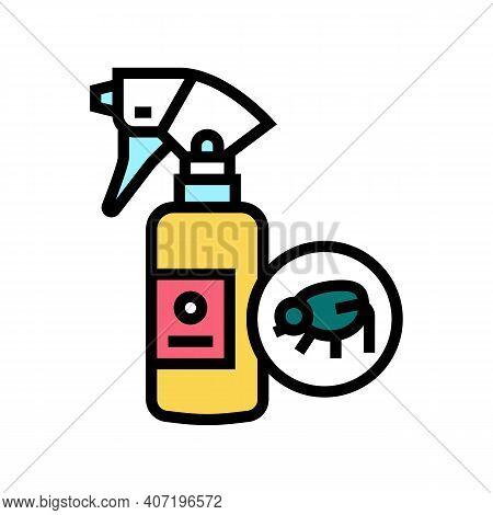 Flea Spray Color Icon Vector. Flea Spray Sign. Isolated Symbol Illustration