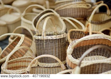 Various Baskets Sold On Easter Market In Vilnius. Annual Spring Fair Hold In March On The Streets Of