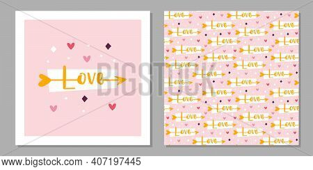 St Valentine's Holiday. Love Greeting Card Design. Cupid Arrow With Love Lettering. Relationship, Em