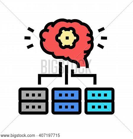 Servers Communication Neural Network Color Icon Vector. Servers Communication Neural Network Sign. I