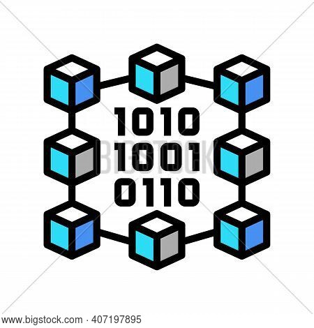 Binary Neural Network Color Icon Vector. Binary Neural Network Sign. Isolated Symbol Illustration