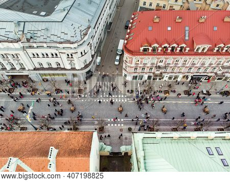 Vilnius, Lithuania - February 16, 2020: Aerial View Of People Attending The Celebration Of Restorati