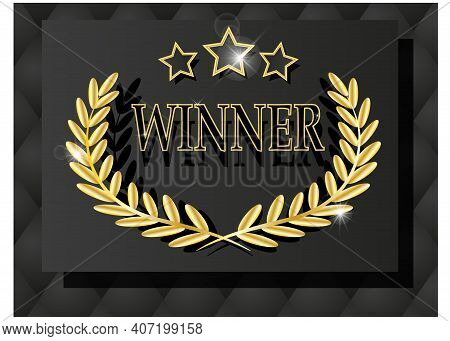 Winner Banner. Win Congratulations Gold Frame, Wreath And Gold Stars. Lottery Winners, Game, Jackpot