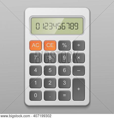 Realistic Digital Calculator Item Vector Illustration Isolated