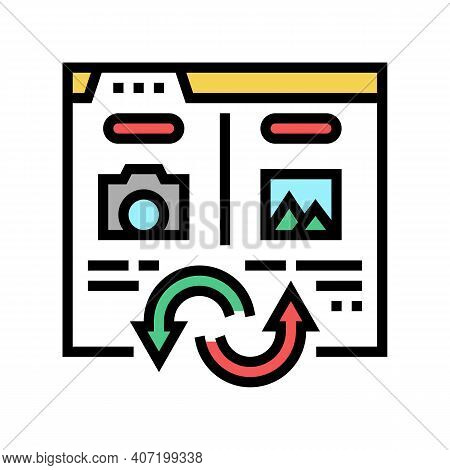 Photo, Image And Picture Converter Color Icon Vector. Photo, Image And Picture Converter Sign. Isola