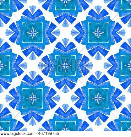 Chevron Watercolor Pattern. Blue Juicy Boho Chic