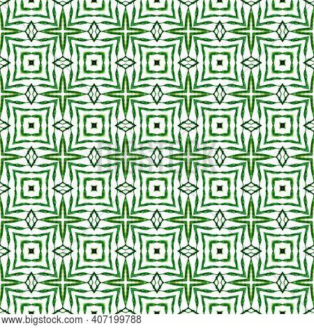 Ikat Repeating Swimwear Design. Green