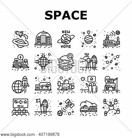 Space Base New Home Collection Icons Set Vector. Space Base Construction And Greenhouse, Planet Colo