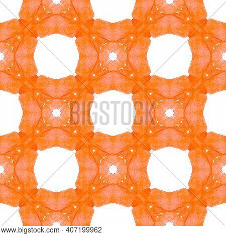 Watercolor Ikat Repeating Tile Border. Orange