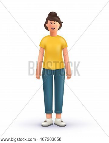 3d Cartoon Character. Young Woman Standing On A White Background.  Smiling Cute Brunette Girl.  3d V