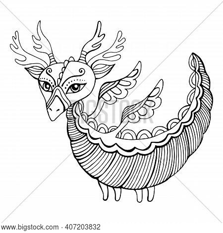 Fantasy Cartoon Dragon Coloring Page For Kids And Adults. Cute Doodle Style Character Little Dragon