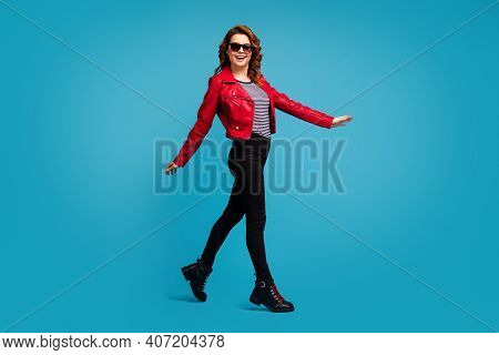Full Length Body Size View Of Nice Attractive Lovely Pretty Cheerful Cheery Glad Slender Thin Fit Sl