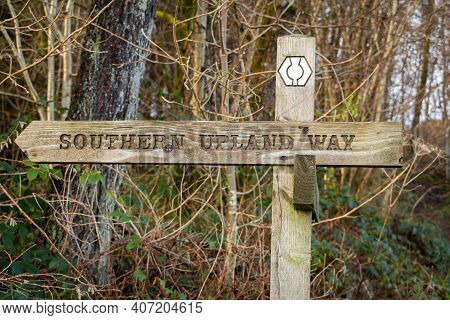 Wooden Sign Post For The Southern Uplands Way Path In Galloway, Scotland