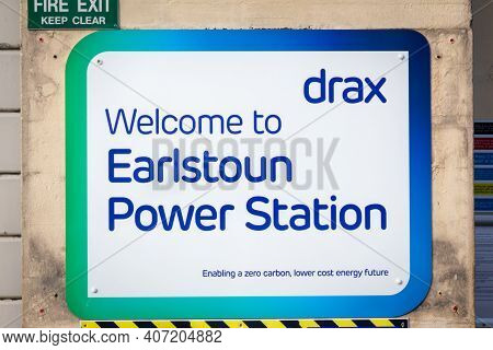 Earlstoun, Scotland - December 24, 2020: Drax Sign For Earlstoun Power Station On The Galloway Hyd