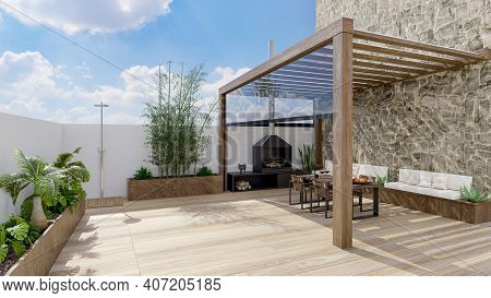 3d Render Of Urban Terrace With Natural Plants And Teak Wood Flooring.bioclimatic Pergola With Table