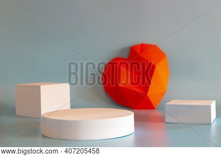 Abstract Composition With Geometric Shapes Forms And Polygonal Heart. Exhibition Podium, Platform Fo