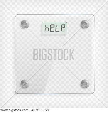 Transparent Square Glass Scale. See Through Plastic Banner With Reflection, Mounts And Shadow On Gre