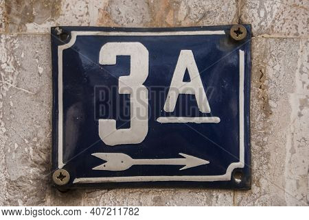 Weathered Grunge Square Metal Enamelled Plate Of Number Of Street Address With Number 3 A