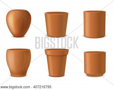 Pots For Flowers, Houseplants Different Shaped Ceramic Templates Realistic Set. Flowerpots, Vases, U