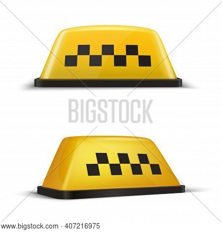 Taxi Checker Yellow Sign Realistic Set. Taxicab, Car Accessories. Cab Top Lights.