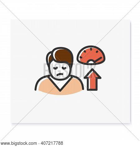 Weight Gain Color Icon. Sleep Disorder, Stress Symptom. Healthy Sleeping Concept. Metabolism Problem