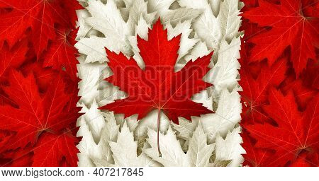 Canada Leaf Flag Made With As Red Maple Leaves For An Autumn Symbol As A Canadian Pride Seasonal The