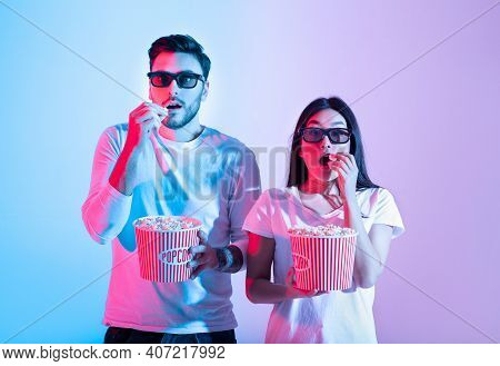 Amazing Entertainment, Leisure Time Together And Cinema With Modern Technology. Surprised Calm Young