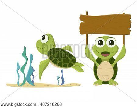 Happy Turtle Cartoon Collection Set. Vector Illustrations For Nature, Animals, Wildlife, Aquatic Rep