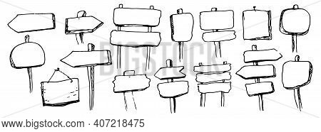 Black Doodle Set Of Vector Pointers In Vintage Style On A White Background With A Black Outline. Han