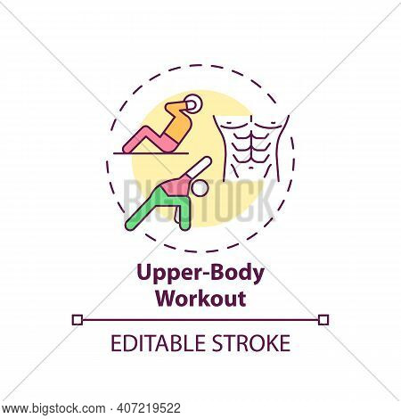 Upper-body Workout Concept Icon. Physical Training Idea Thin Line Illustration. Boosting Muscle Stre