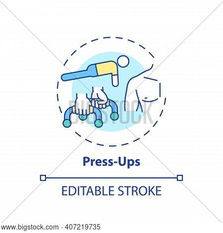 Press-ups Concept Icon. At-home Workout Session Idea Thin Line Illustration. Building Upper Body Str