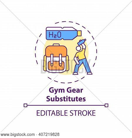 Gym Gear Substitutes Concept Icon. Home Physical Training Idea Thin Line Illustration. Workout Equip