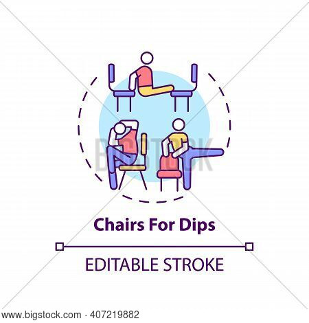 Chairs For Dips Concept Icon. Gym Exercise Alternative Idea Thin Line Illustration. Extending Elbow,