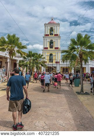 Cayo Santa Maria, Cuba, February 2016 - Tourists Stroll On The Street Of La Estrella The Touristic M